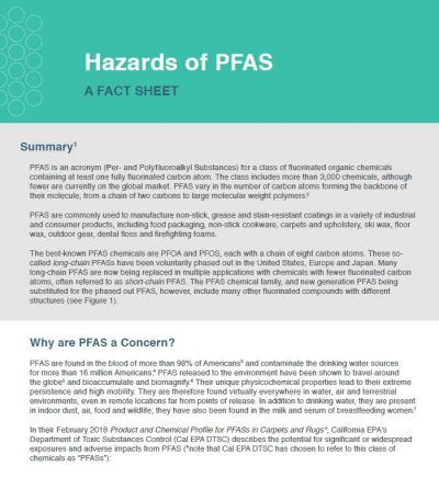 Hazards of PFAS fact sheet image