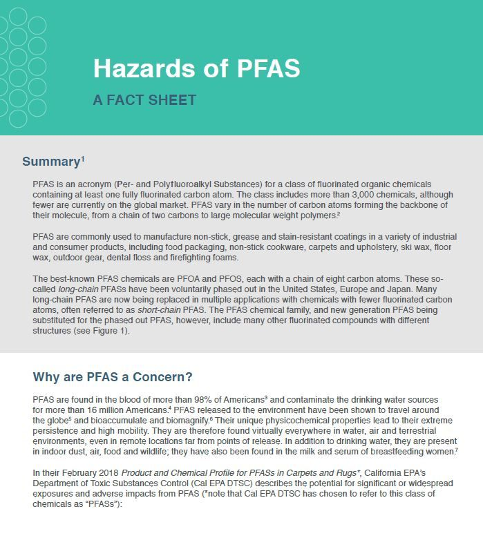 Hazards of PFAS fact sheet | Resources | Clean Production Action